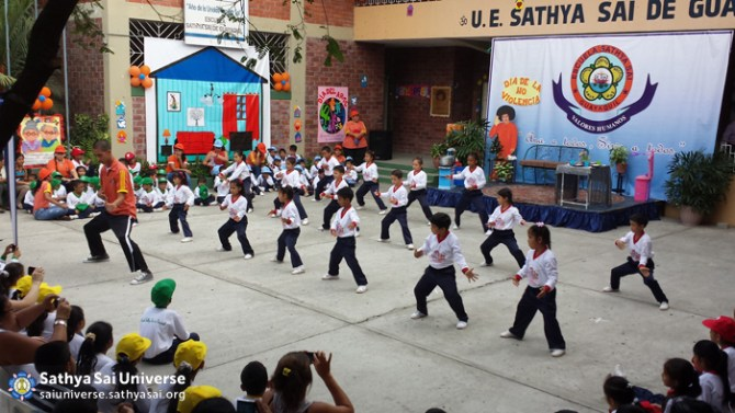 Childrens gymnastics at Sathya Sai School in Ecuador