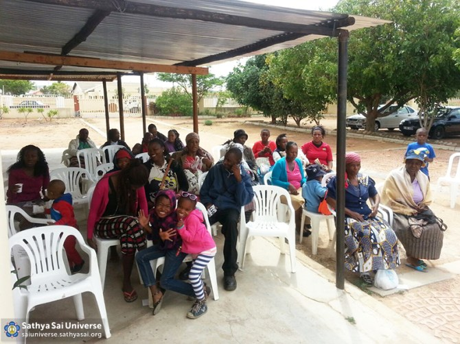 Botswana Patients waiting at Sathya Sai Baba Free Medical Clinic