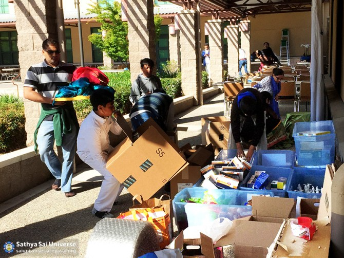 Volunteers organizing Supplies