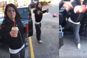 ویدیوی زنی که لیوان قهوه پرت کرد!