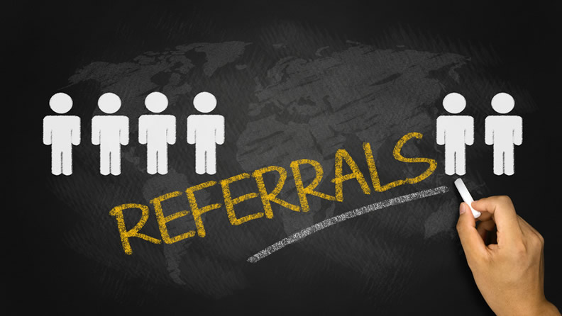referrals written on blackboard - how to get referrals from current clients