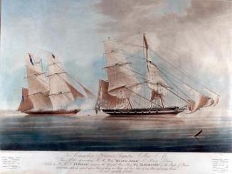 British anti slaving ship overhauls a slaver