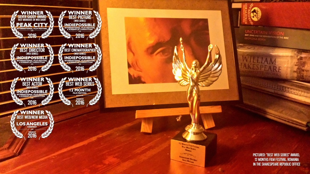 """Best Web Series"" Award from 12MFF, Romania in the Shakespeare Republic office"