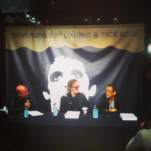 Mick Rock with Lou Reed at Varvatos for Lou's Transformer launch.