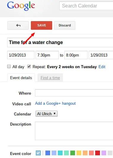 Schedule a reminder to do aquarium maintenance