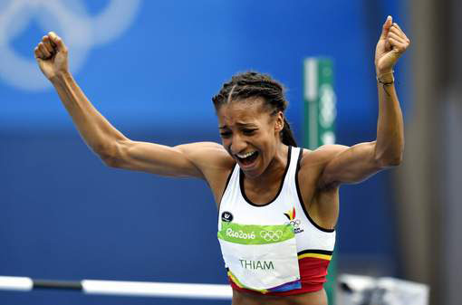 Belgian athlete Nafissatou 'Nafi' Thiam reacts during the high jump event of the women's heptathlon athletics competition at the 2016 Olympic Games in Rio, Friday 12 August 2016, in Rio de Janeiro, Brazil. BELGA PHOTO DIRK WAEM