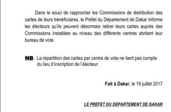 Les électeurs peuvent désormais retirer leurs cartes dans les Commissions installées dans les centres de vote (DOCUMENT)
