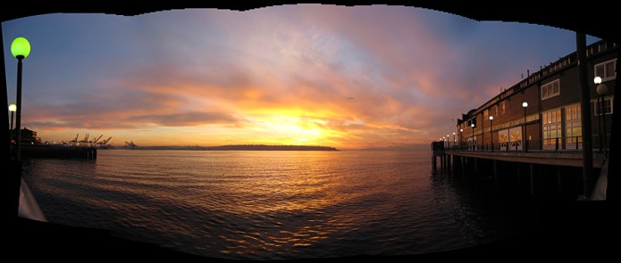 Sunset over Elliott Bay, Seattle