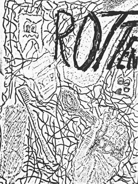 """""""Rotten."""" 1/4/13. Calligraphy pens and black ink. 9x12""""."""