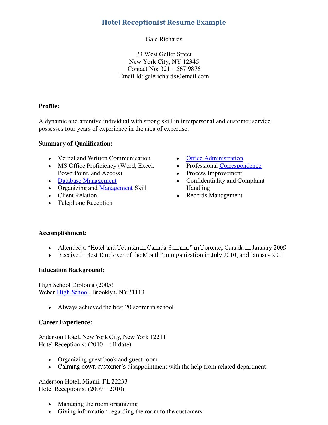 Best Resume Format For Receptionist Marchigianadoctk - Cv-resume-receptionist