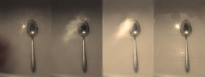 Spoon interacting with light and time.