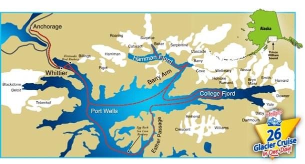 26 Glacier Cruise Route Map