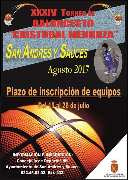 Cartel XXXIV Torneo de Baloncesto Cristobal Mendoza 2017