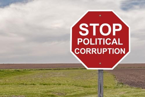 Stop Sign Concept On Political Corruption