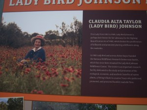 Sign with information on Lady Bird Johnson.