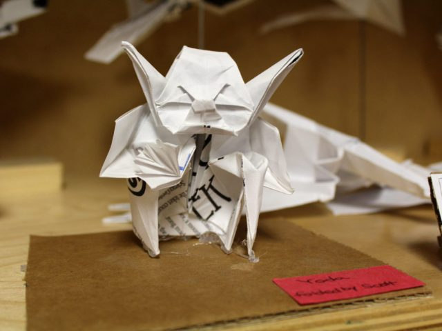 Yoda, made out of paper he must be... Origami at the Tinkering Studio