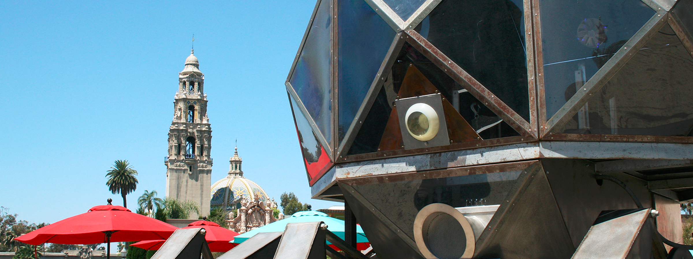The Walking Pod and California Tower in Balboa Park - Maker Faire San Diego