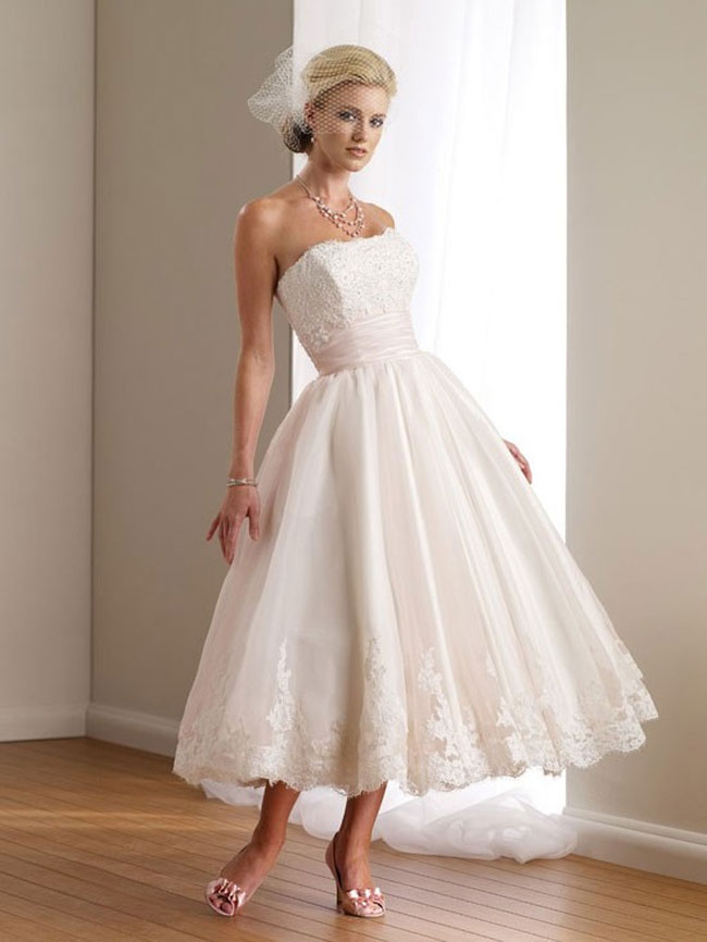 retro tea length strapless wedding dress