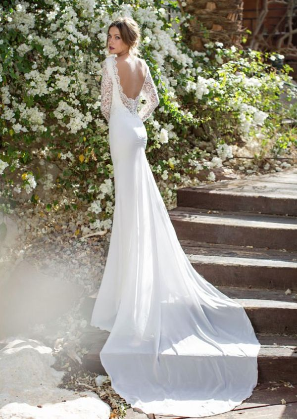 wedding dress with open back by Julie Vino