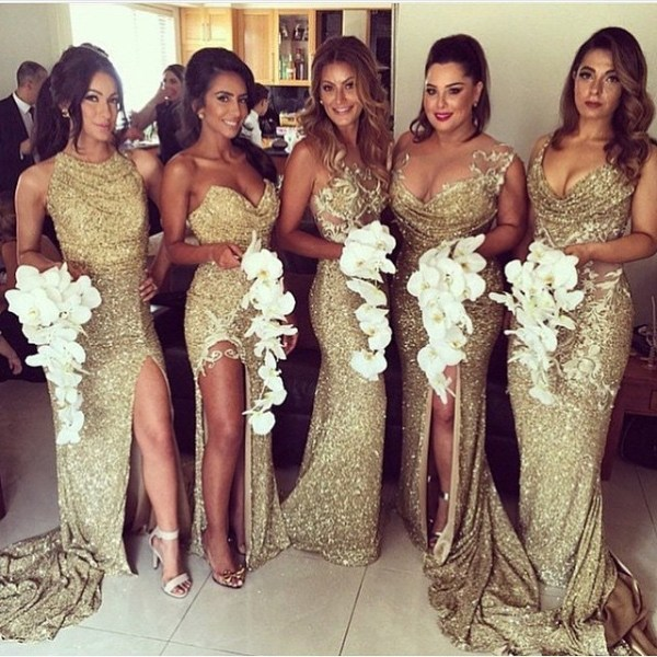 gold sequin bridesmaid dresses with sweetheart neckline