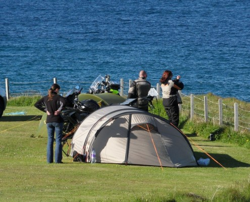 Bikers Camping Overlooking Sango Bay's Great Views