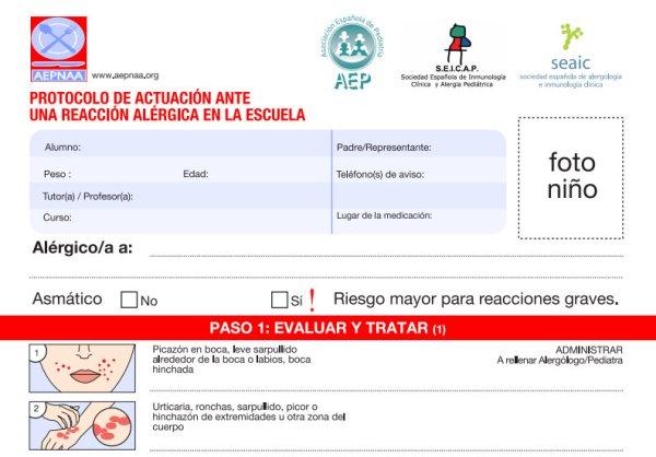 PROTOCOLO DE ACTUACION ANTE UNA REACCION ALERGICA EN LA ESCUELA