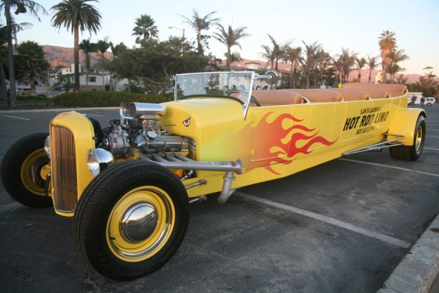 Santa Barbara Hot Rod Limo Engine and Flames