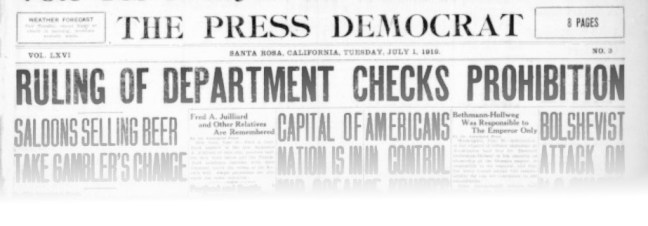 Press Democrat headlines, July 1, 1919