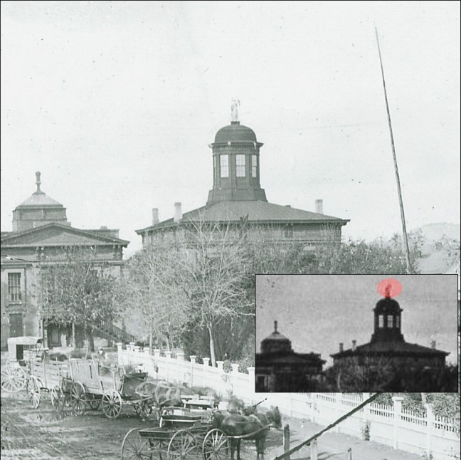 There are no known closeups of the statue, but it can be faintly seen in this enhanced 1875 photo (original images courtesy Sonoma County Library)