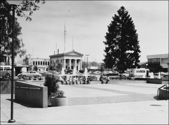 """Old Courthouse Square"" in 1968 looking east. Image: Sonoma County Library"