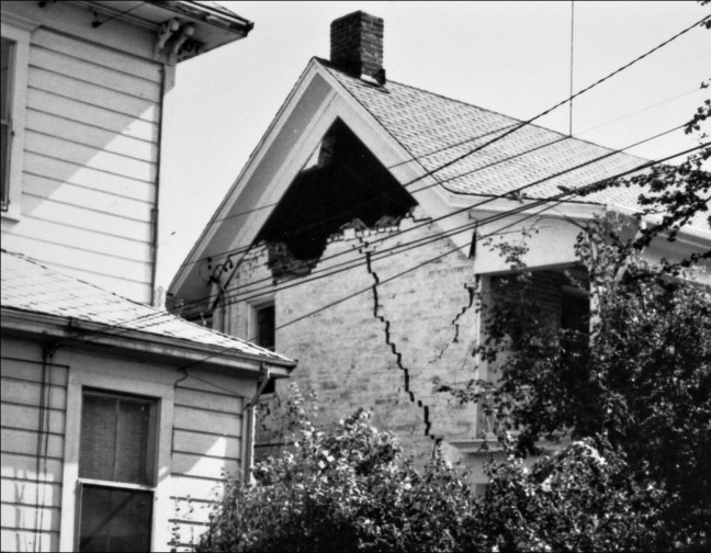 Damage to the Beaver House at 610 Beaver street after the October, 1969 Santa Rosa Earthquake. (See photo of pre-earthquake house.) Image: Sonoma County Library