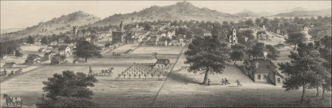 Detail of Santa Rosa panorama c. 1874 by Grafton T. Brown (Bancroft Library). The view is approximately from the modern intersection of Morgan and Ninth streets; the tall building with cupola is the Christian College built 1872 at B and Tenth street