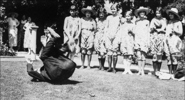 Luther Burbank performing somersaults for children at age 70 or 71, circa 1920. Image: Sonoma County Library