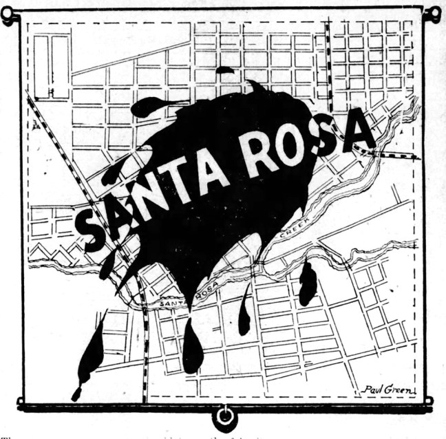"Sewage disposal cartoon (""the blot on the fair city of Santa Rosa"") by city engineers Frank Comstock and Paul Green. Press Democrat, February 9, 1924"