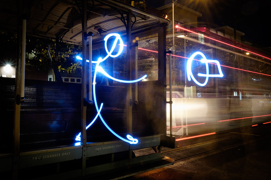Light painting of a San Francisco streetcar