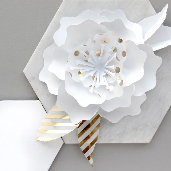 White and Gold foil Paper Flower