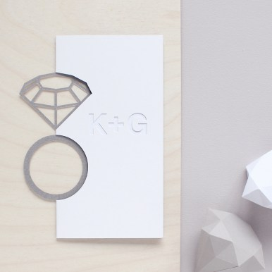 Bespoke Personalised Initials Engagement Card