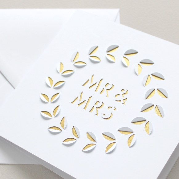 Minimal Mr & Mrs White and Gold Papercut Wedding Card