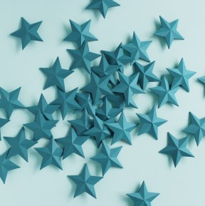 3D Teal Folded Paper Stars