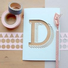 Geometric Papercut Bespoke 'D' Initial Typography Card