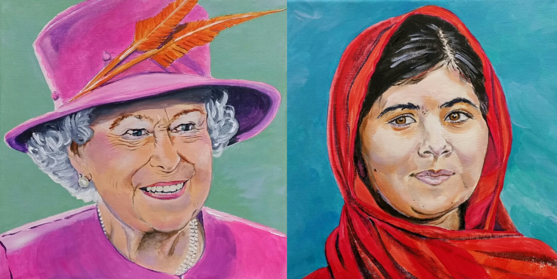 Portrait of Queen Elizabeth and Malala by Caversham Commissioning Artist Sarah Seymour