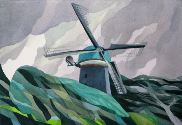 Golden Gate Park Dutch Windmill, March 2014, San Francisco, California. Analytic Transparent Watercolor. Best of Show. Fremont Art Association Annual Juried Show 2014. Fremont, California.