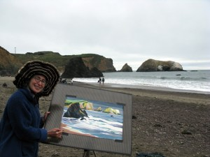 Sara Kahn Painting at Rodeo Beach San Francisco, California. Transparent watercolor.