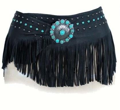 Patricia Wolf Black Deerskin Wrap Belt