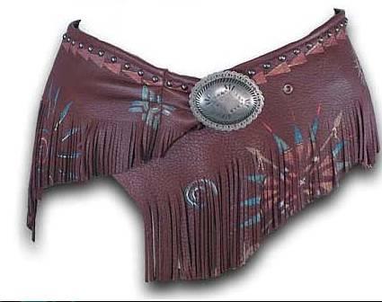 Patricia Wolf Hand Painted Wrap Belt on Acorn Deerskin