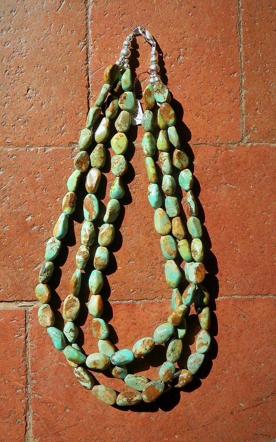 3 Strand Turquoise Necklace from Santo Domingo Pueblo