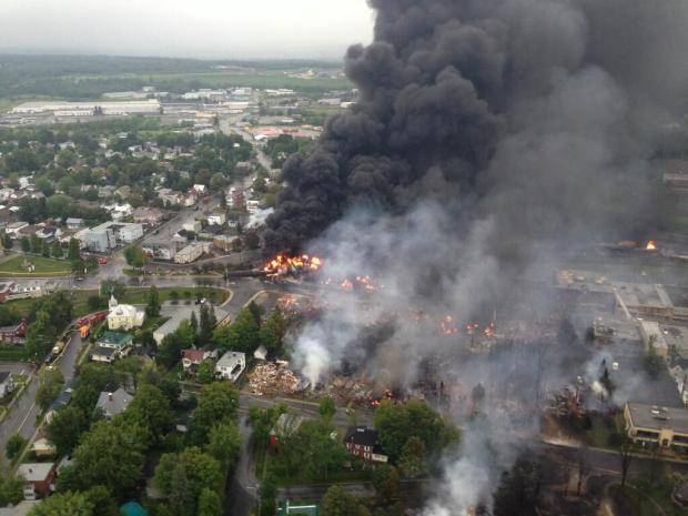 Town of Lac Megantic with billowing smoke and fire