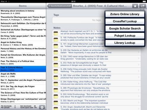 ZotPad auf dem iPad - Notizen