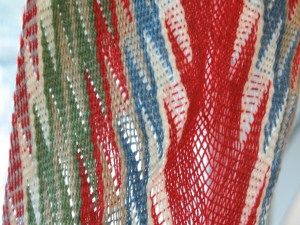 Close up of loosely woven sample