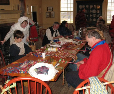 Fingerweaving workshop for young and old at the NAVC Fall Gathering